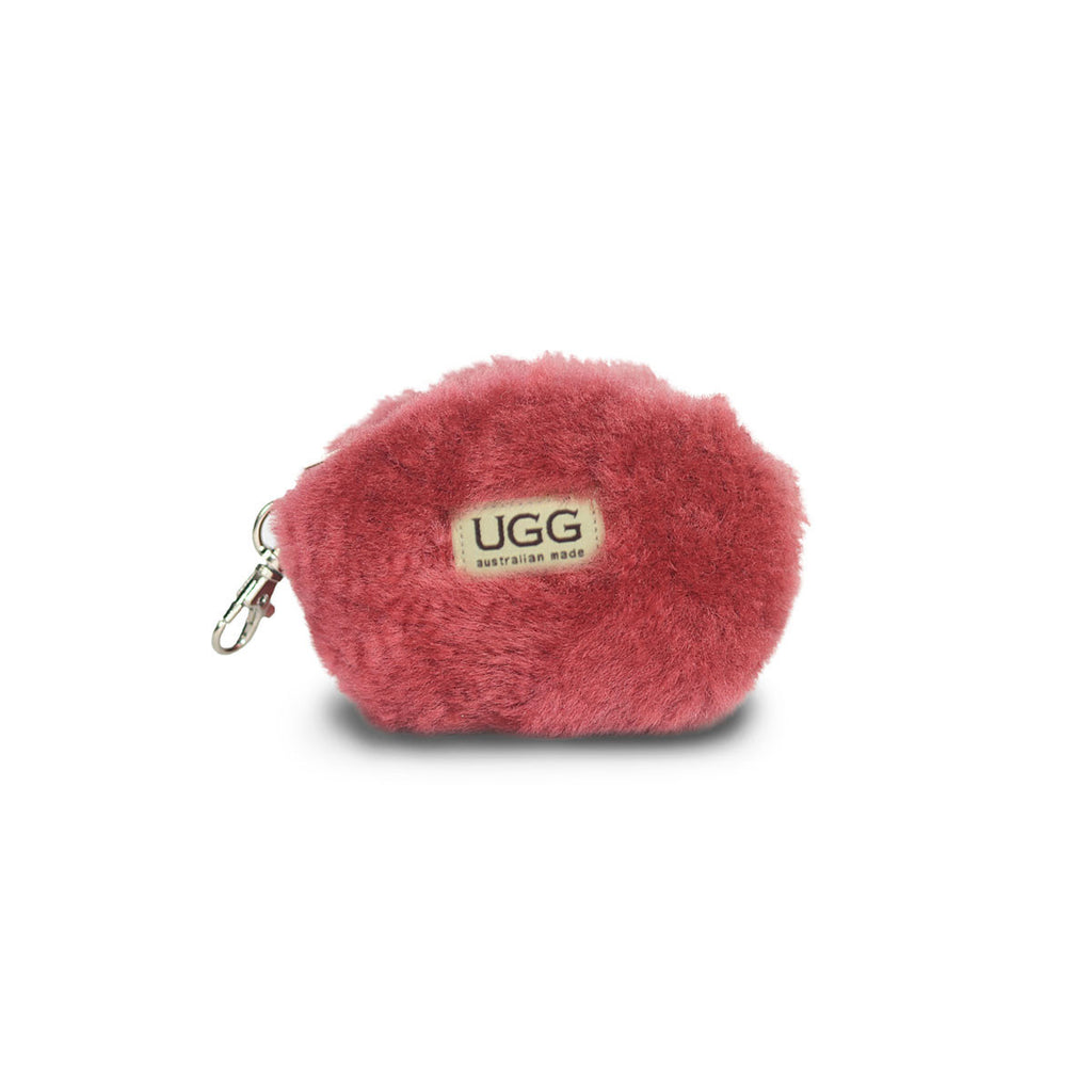 Coin purse fluffy Jester red sheepskin online sale by UGG Australian Made Since 1974 Front view