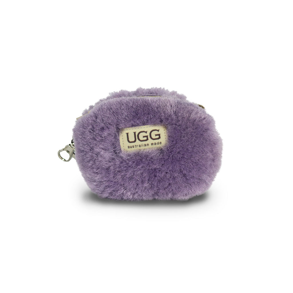 Coin purse fluffy Lilac purple sheepskin online sale by UGG Australian Made Since 1974 Front view