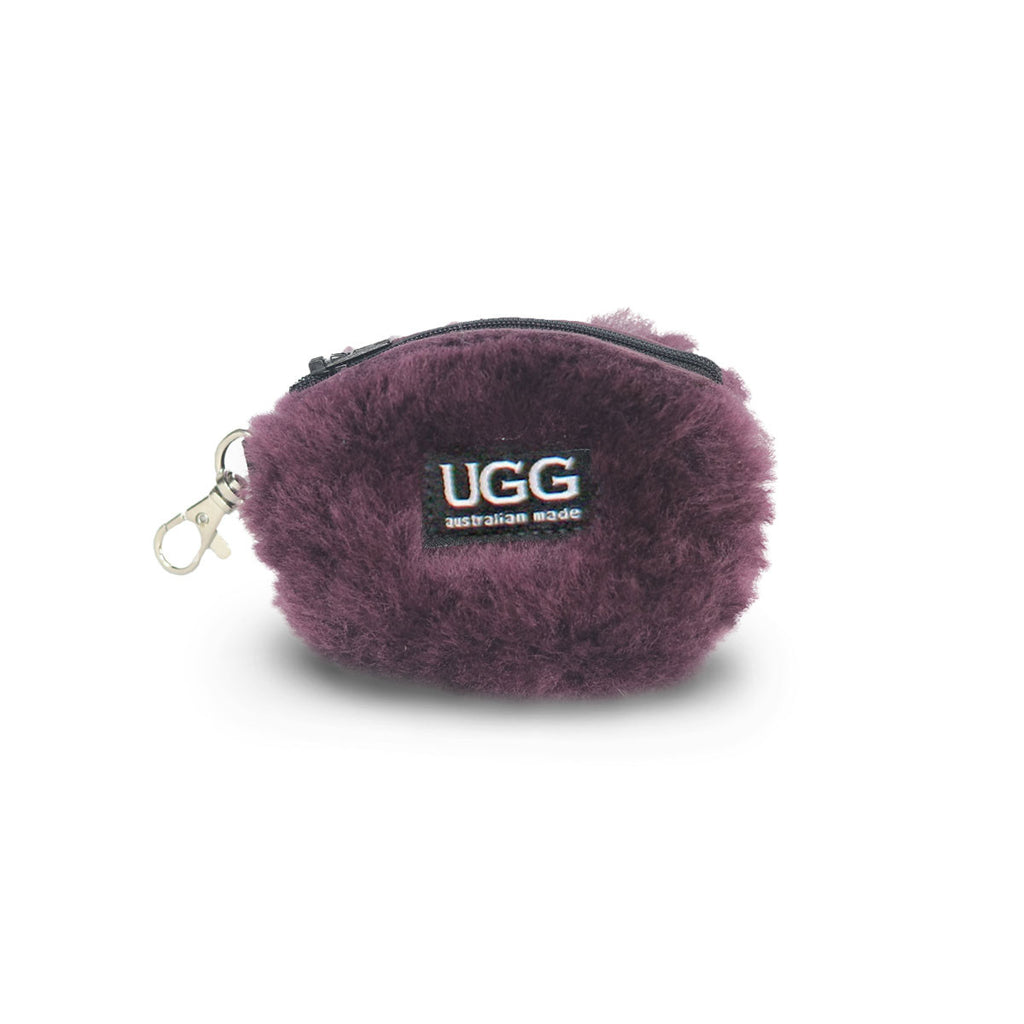 Coin purse fluffy Raisin purple sheepskin online sale by UGG Australian Made Since 1974 Front view