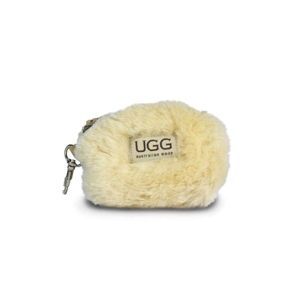 Coin purse fluffy Sand sheepskin online sale by UGG Australian Made Since 1974 Front view