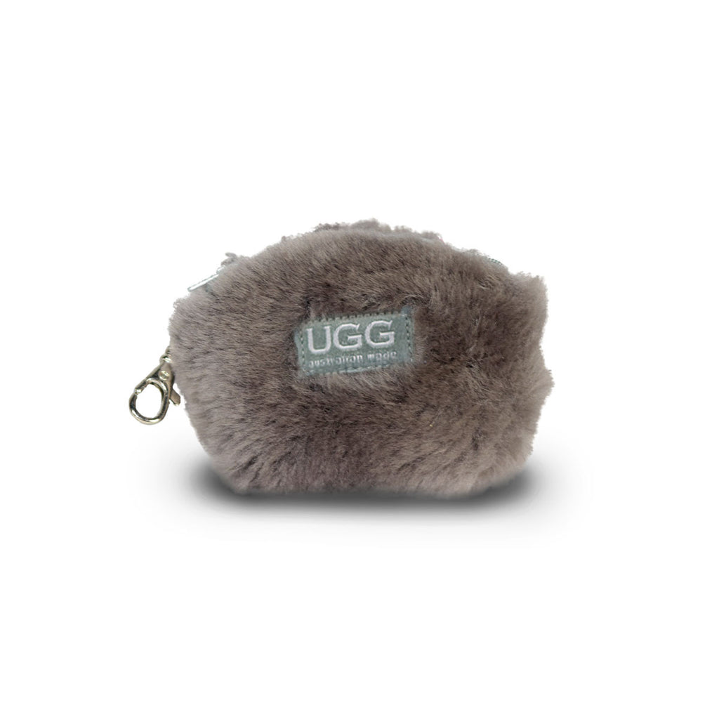 Coin purse fluffy Slate grey sheepskin online sale by UGG Australian Made Since 1974 Front view
