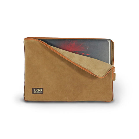 Laptop Chestnut Suede case online sale by UGG Australian Made Since 1974 Front view