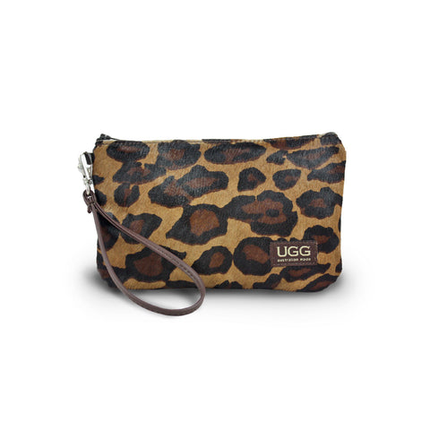 Leopard Clutch made from calfskin online sale by UGG Australian Made Since 1974 Front view
