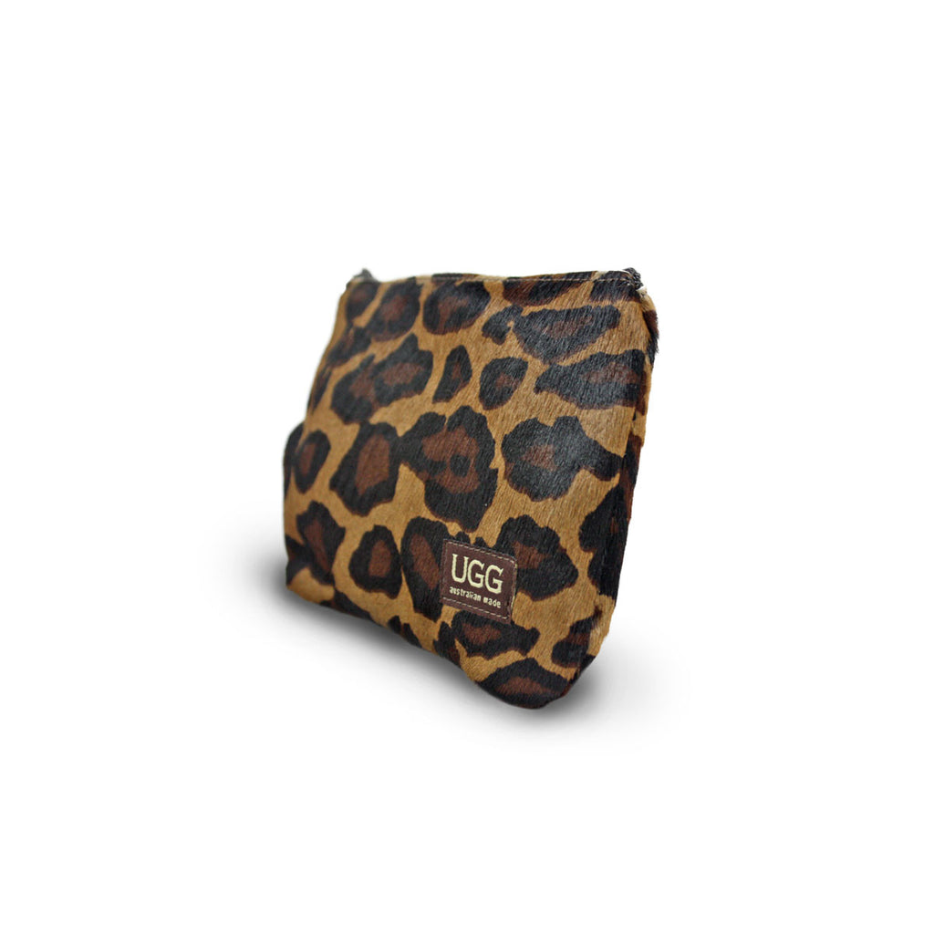 Leopard Clutch made from calfskin online sale by UGG Australian Made Since 1974 Front angle view