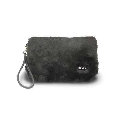 Small Black fluffy Sheepskin Clutch online sale by UGG Australian Made Since 1974 Front view