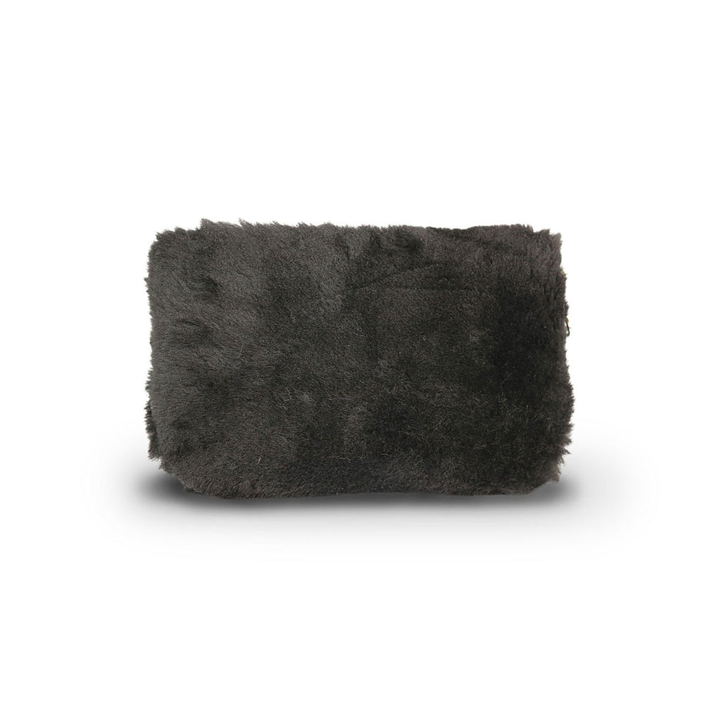 Small Black fluffy Sheepskin Clutch online sale by UGG Australian Made Since 1974 Back angle view
