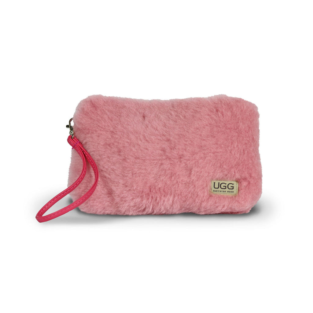 Small Orchid pink fluffy Sheepskin Clutch online sale by UGG Australian Made Since 1974 Front view