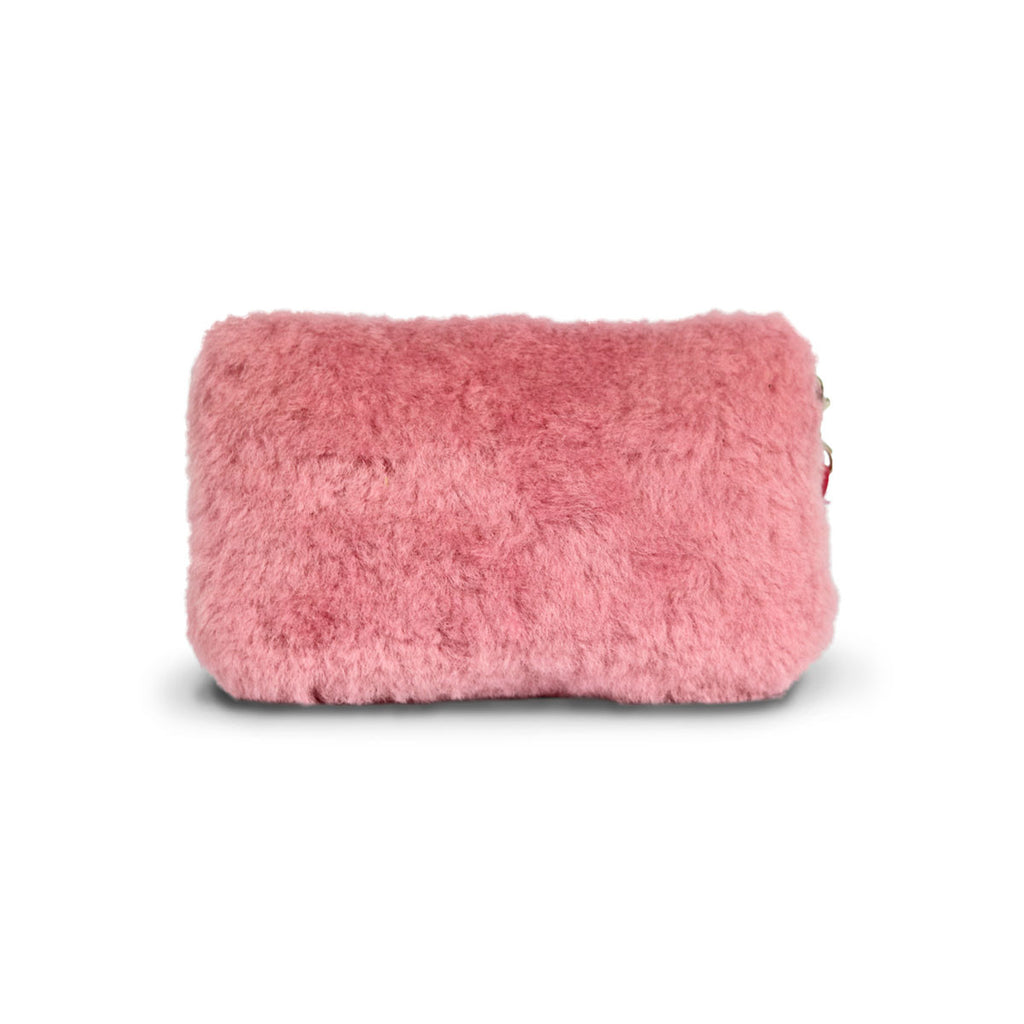 Small Orchid pink fluffy Sheepskin Clutch online sale by UGG Australian Made Since 1974 Back view