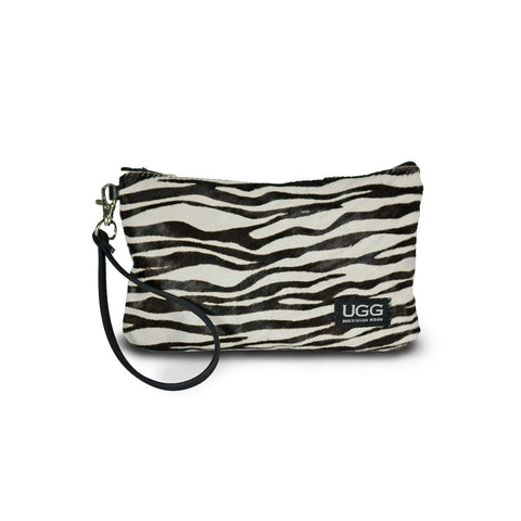 Zebra Clutch made from calfskin online sale by UGG Australian Made Since 1974 Front view