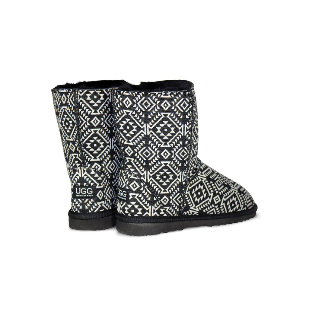 Aztec Moon Classic Mid sheepskin ugg boot online sale by UGG Australian Made Since 1974 Back angle view pair