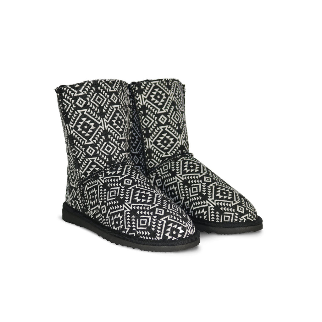 Aztec Moon Classic Mid sheepskin ugg boot online sale by UGG Australian Made Since 1974 Front angle view pair