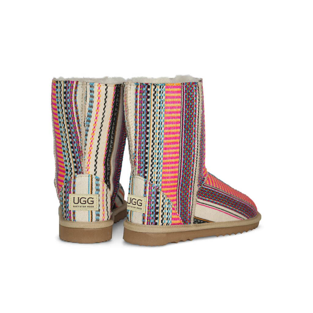 Classic Aztec Earth Mid sheepskin ugg boot online sale by UGG Australian Made Since 1974 Back angle view pair