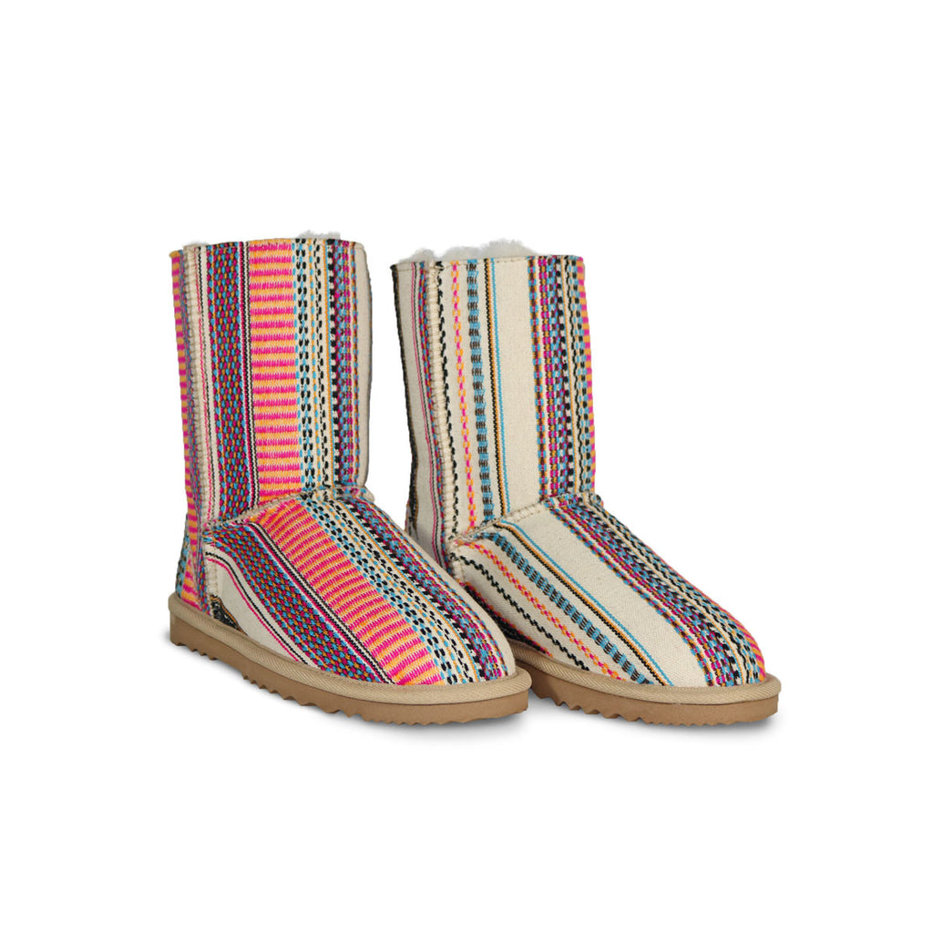Classic Aztec Earth Mid sheepskin ugg boot online sale by UGG Australian Made Since 1974 Front angle view pair