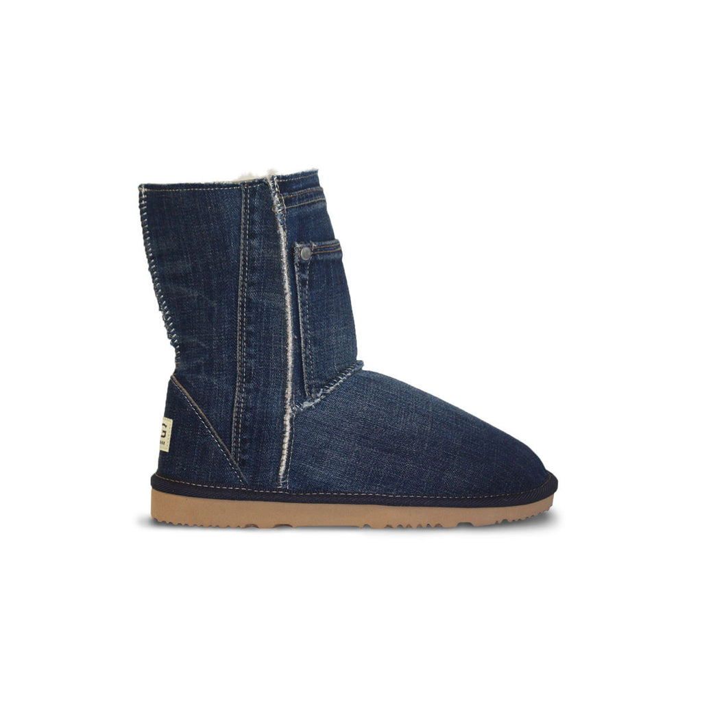 Classic dark blue Denim Mid sheepskin ugg boot online sale by UGG Australian Made Since 1974 Side view