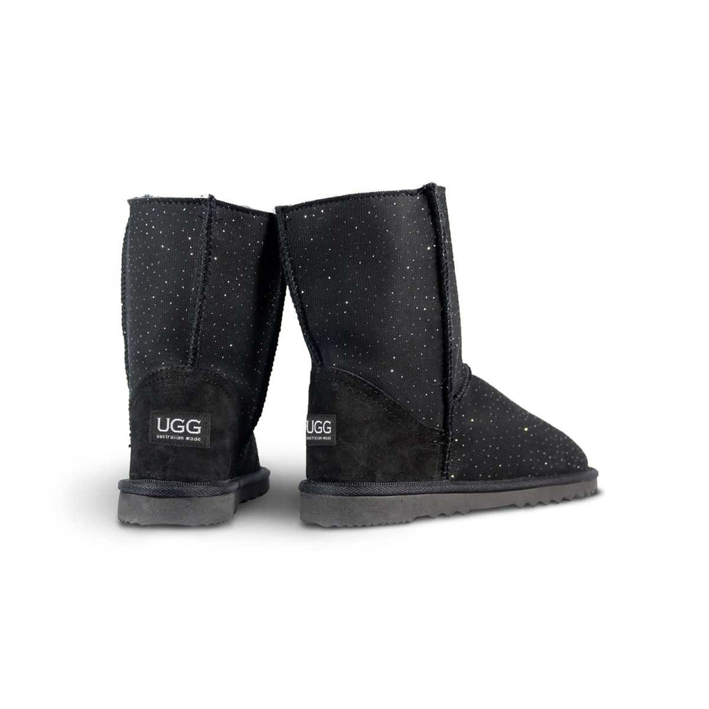 Classic Venus Mid Black sheepskin ugg boot online sale by UGG Australian Made Since 1974 Back angle view pair