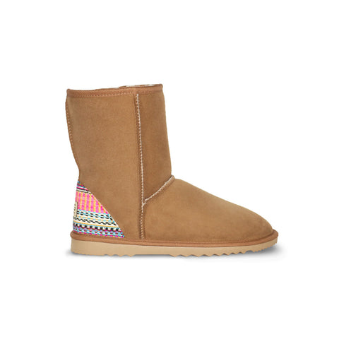 Classic Mid Chestnut sheepskin ugg boot with Aztec Earth heel online sale by UGG Australian Made Since 1974 Side view