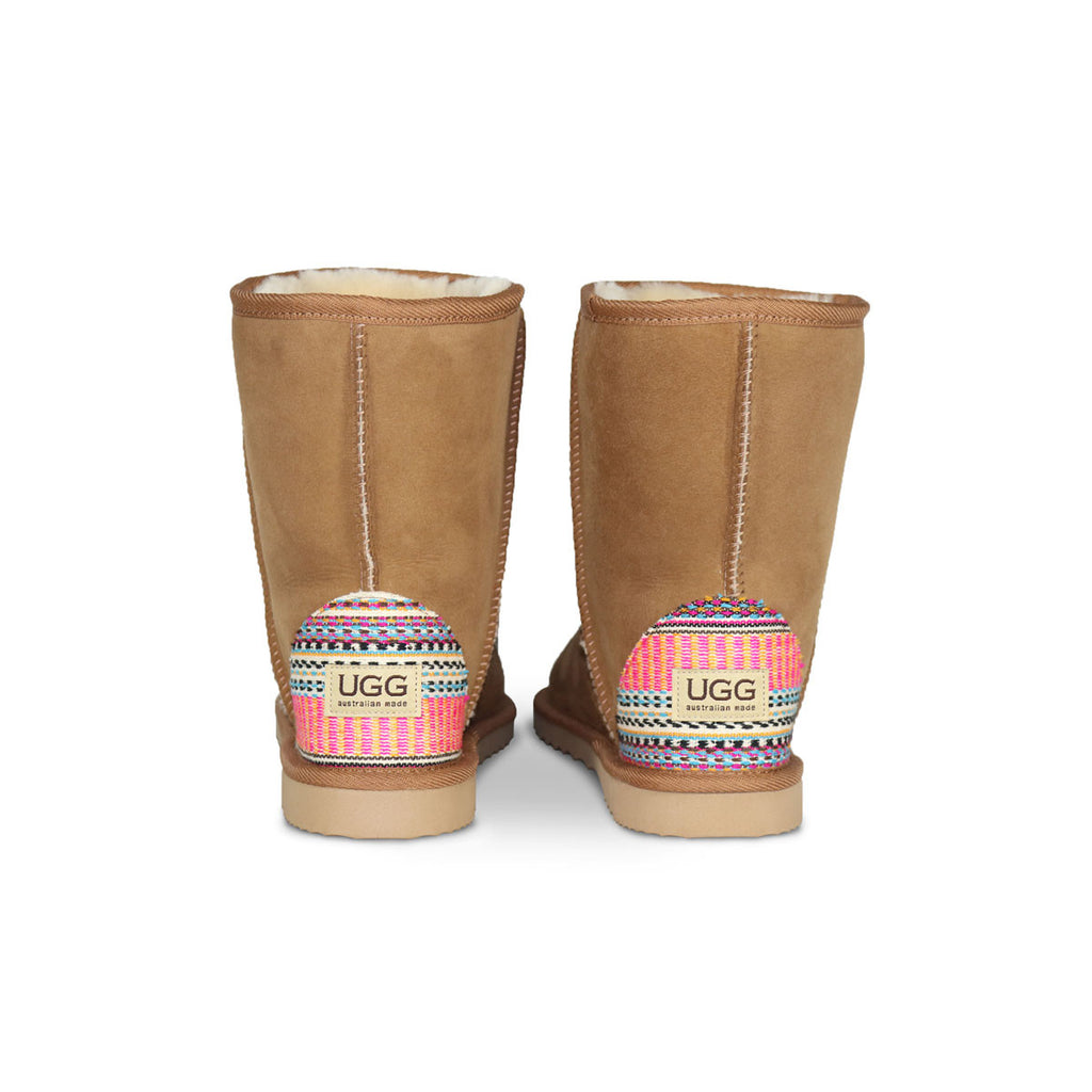 Classic Mid Chestnut sheepskin ugg boot with Aztec Earth heel online sale by UGG Australian Made Since 1974 Back view pair