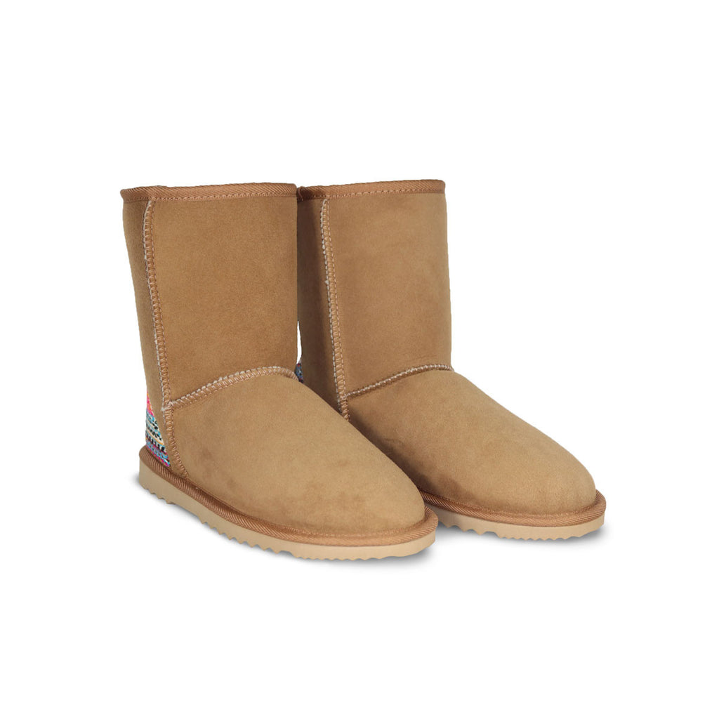 Classic Mid Chestnut sheepskin ugg boot with Aztec Earth heel online sale by UGG Australian Made Since 1974 Front view pair