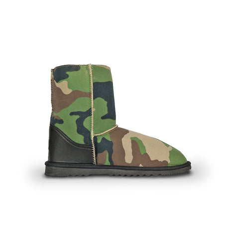 Camo Mid sheepskin ugg boot with black leather heel online sale by UGG Australian Made Since 1974 Side view