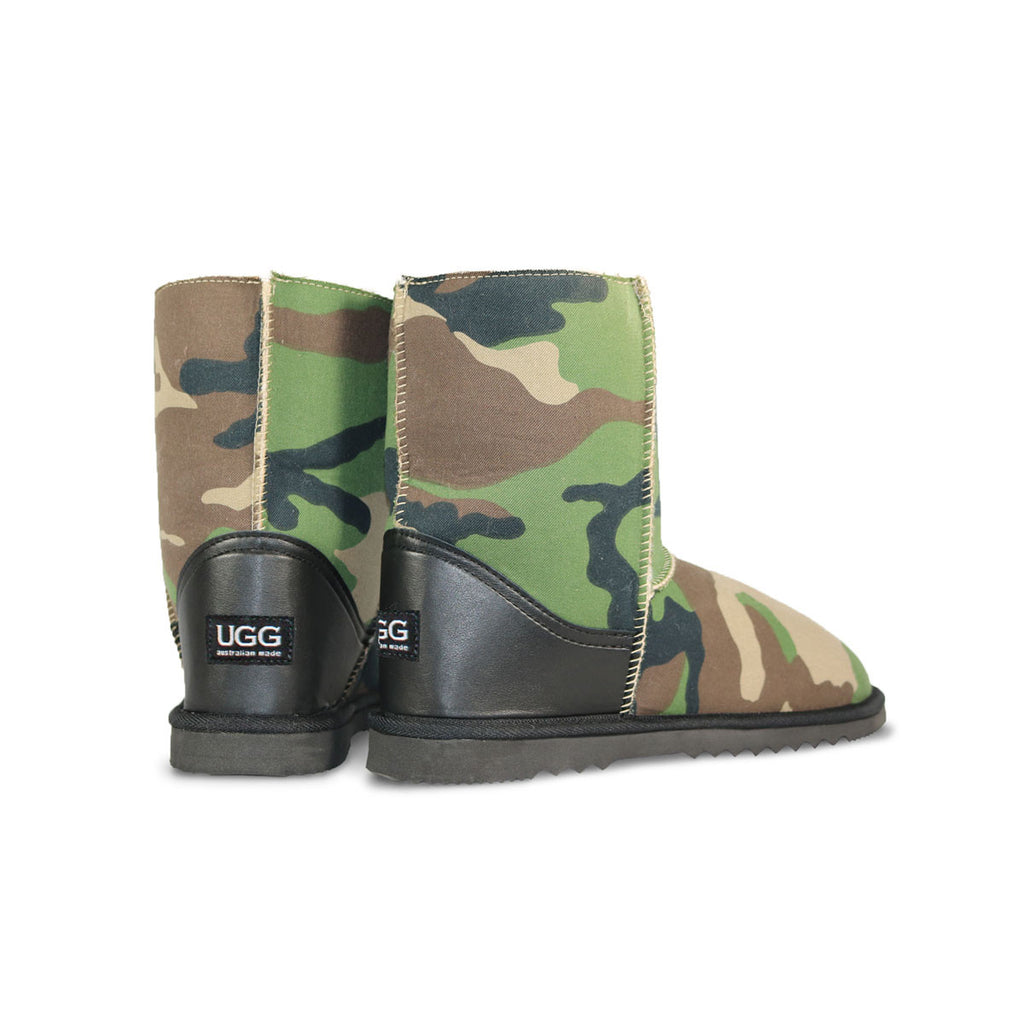 Camo Mid sheepskin ugg boot with black leather heel online sale by UGG Australian Made Since 1974 Back angle view pair