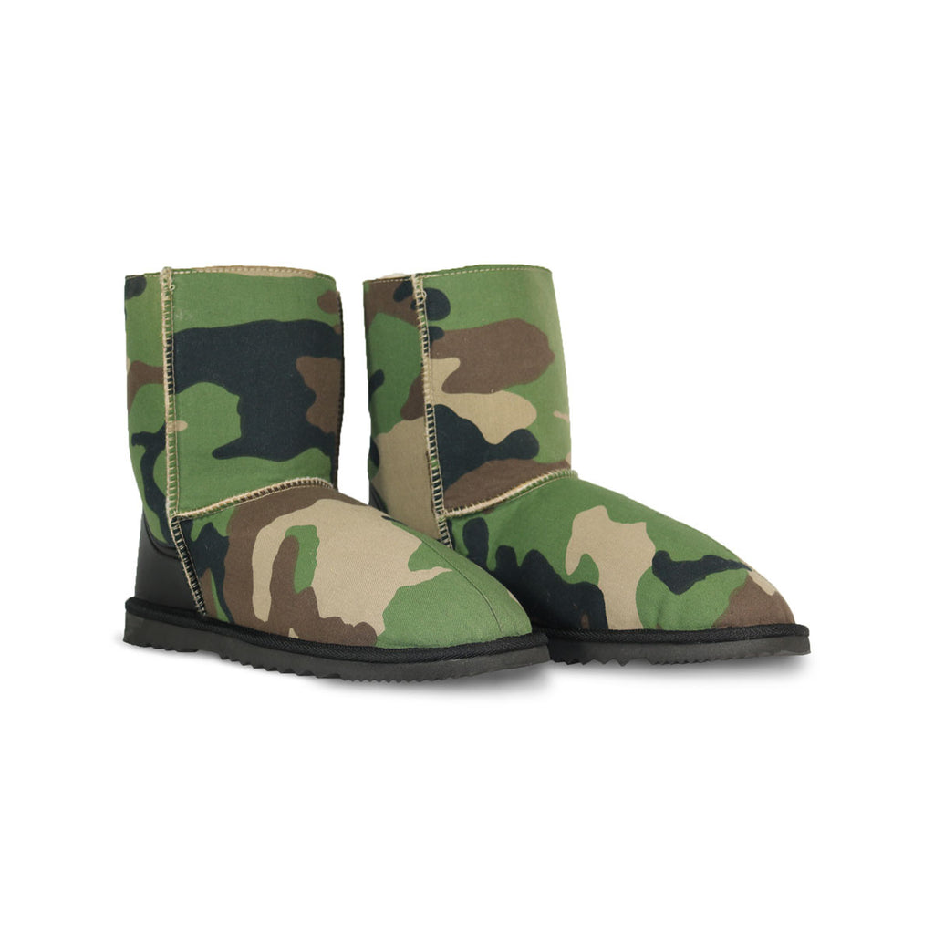 Camo Mid sheepskin ugg boot with black leather heel online sale by UGG Australian Made Since 1974 Front angle view pair