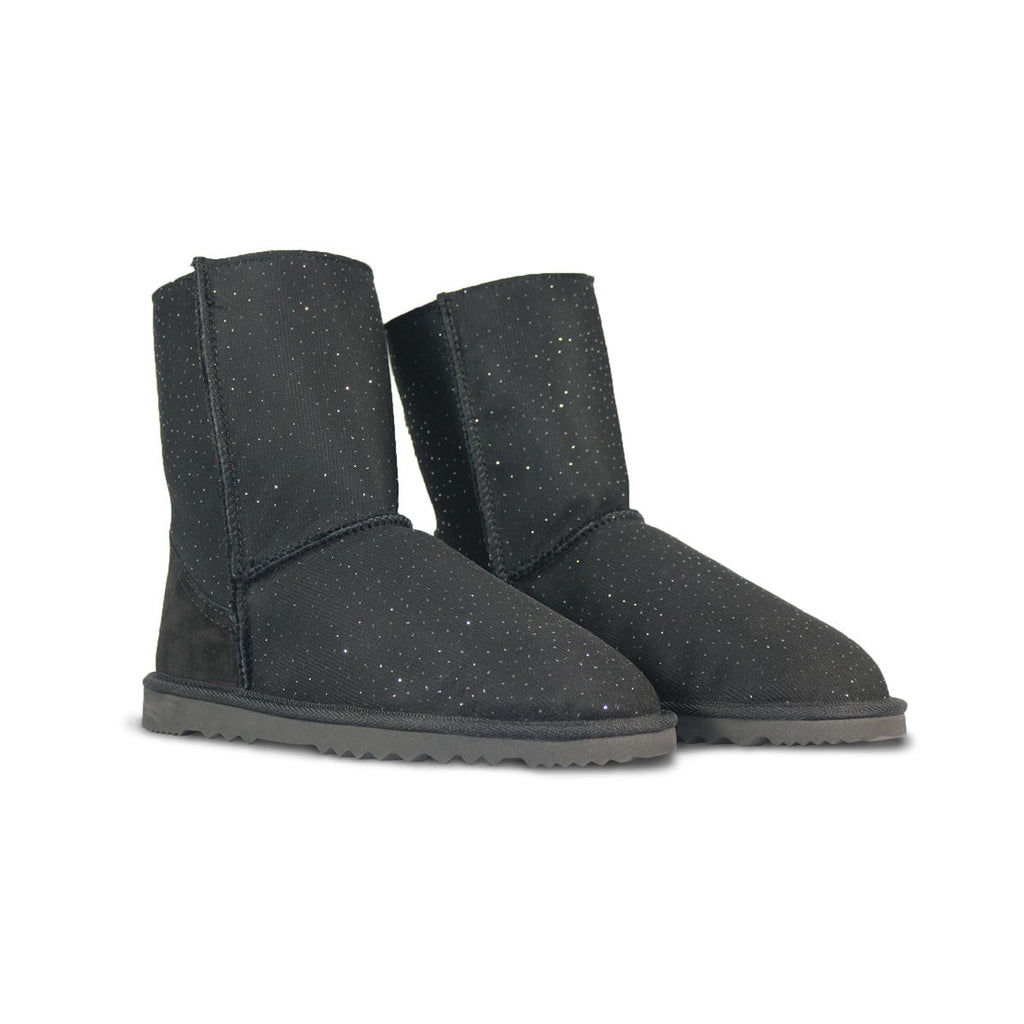 Classic Venus Mid Black sheepskin ugg boot online sale by UGG Australian Made Since 1974 Front angle view pair