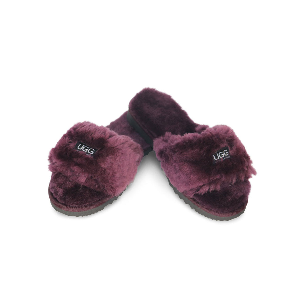 Designer Sandal Raisin sheepskin by UGG Australian Made Since 1974 Front angle view pair