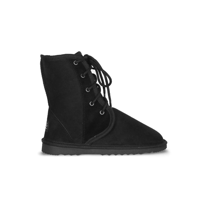 Dusty lace up Mid Black sheepskin ugg boot online sale by UGG Australian Made Since 1974 Side view
