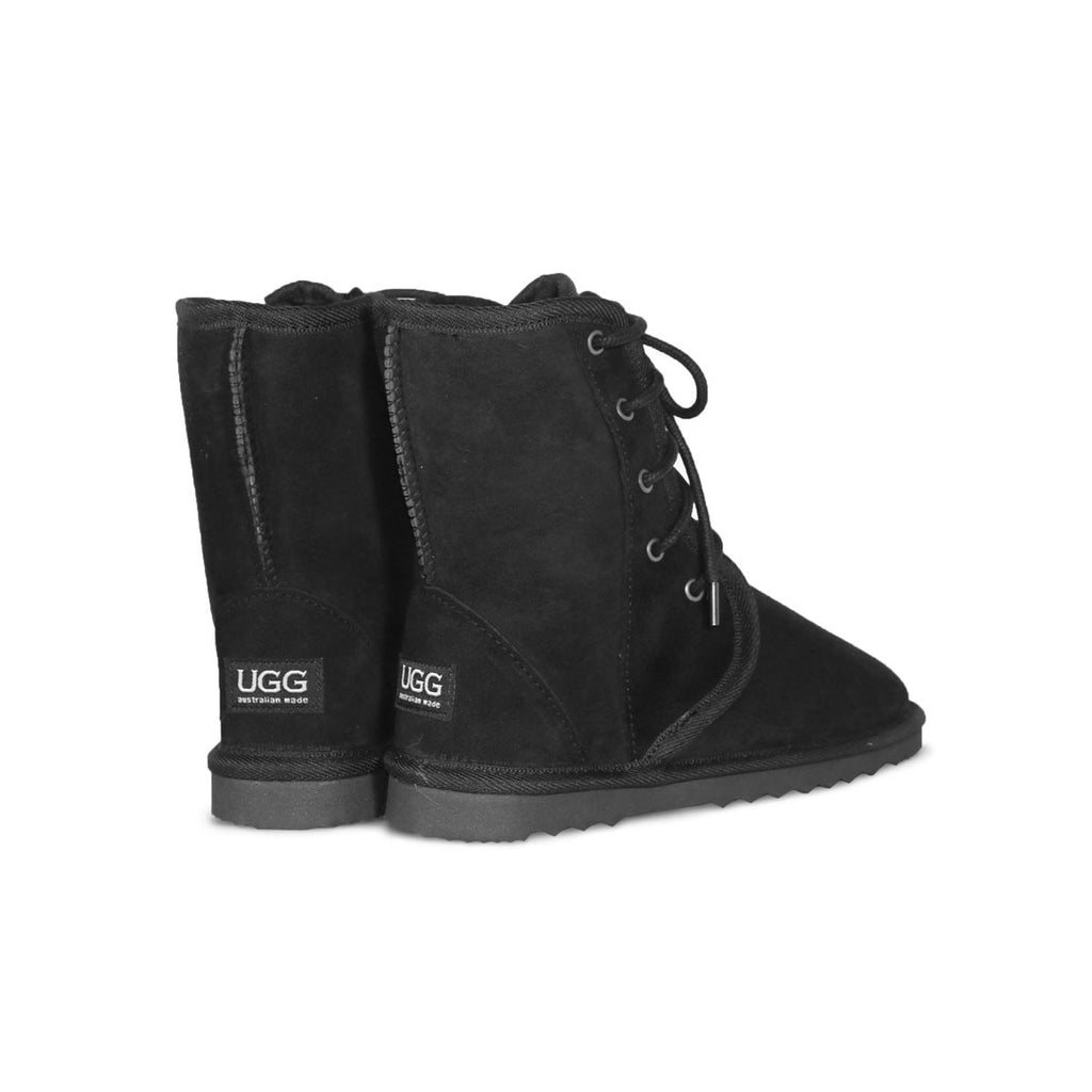 Dusty lace up Mid Black sheepskin ugg boot online sale by UGG Australian Made Since 1974 Back angle view pair