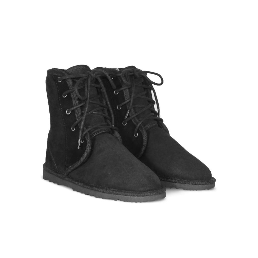 Dusty lace up Mid Black sheepskin ugg boot online sale by UGG Australian Made Since 1974 Front angle view pair