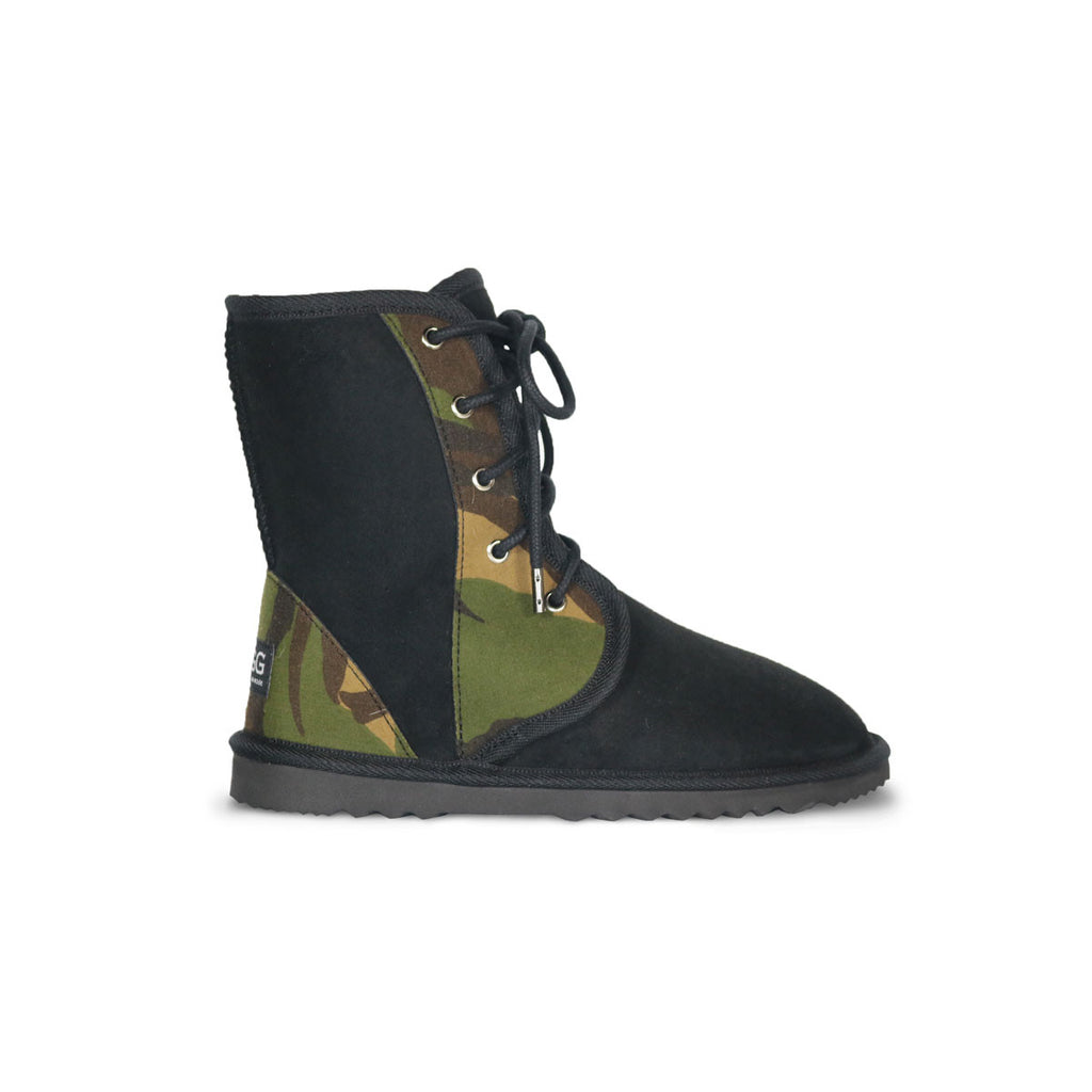 Dusty Camo lace up Mid Black sheepskin ugg boot online sale by UGG Australian Made Since 1974 Side view