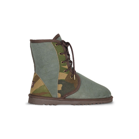 Dusty Camo lace up Mid Khaki sheepskin ugg boot online sale by UGG Australian Made Since 1974 Side view