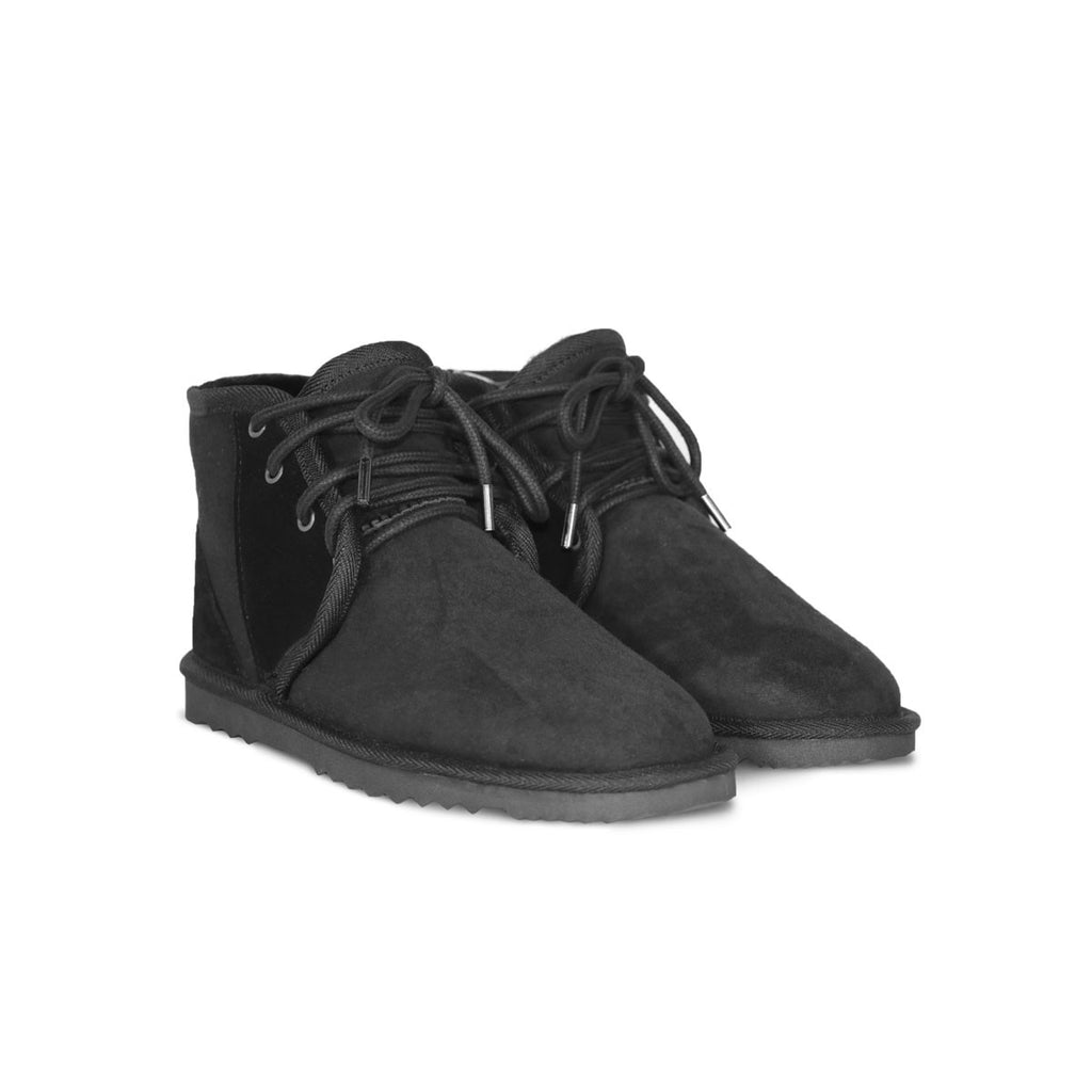Dusty Mini Black lace up sheepskin ugg boot sale by UGG Australian Made Since 1974 Front angle view pair