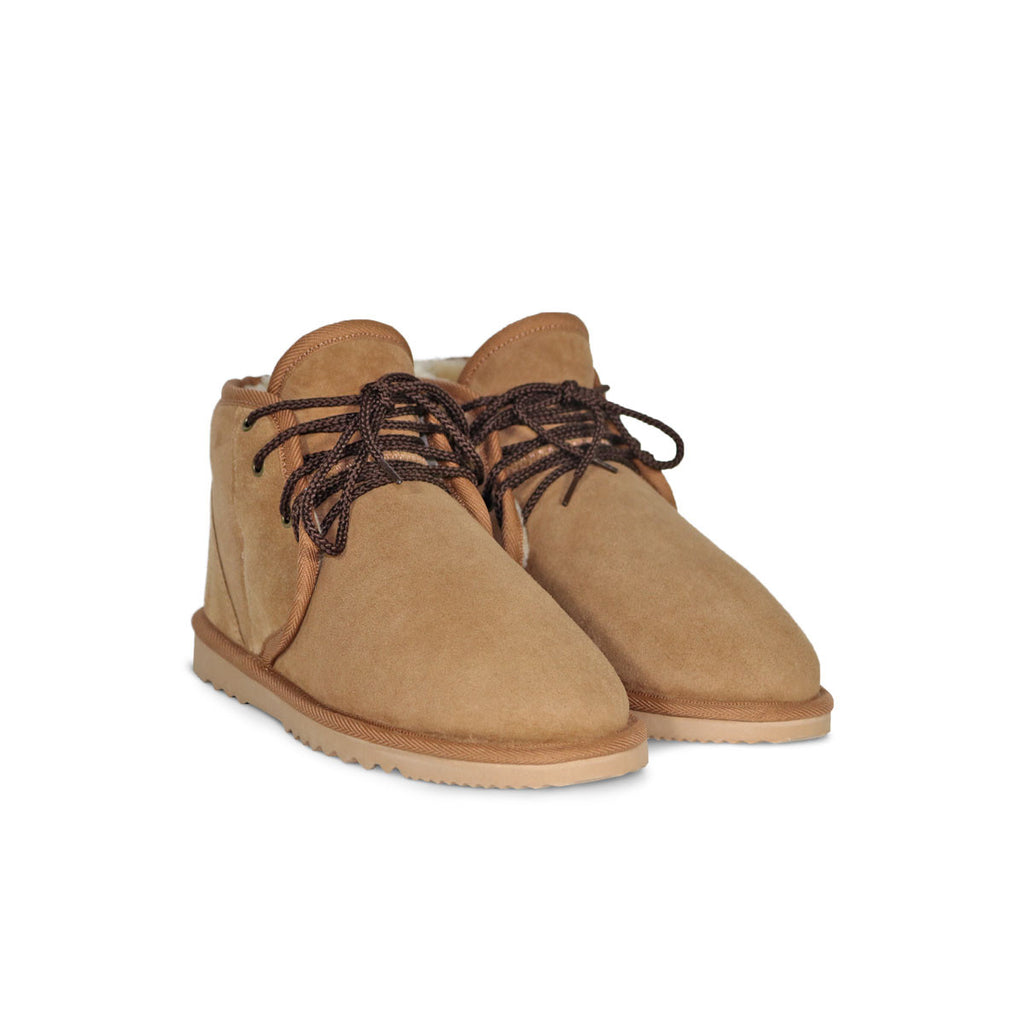 Dusty Mini Chestnut lace up sheepskin ugg boot sale by UGG Australian Made Since 1974 Front angle view pair
