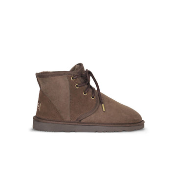 Dusty Mini Chocolate lace up sheepskin ugg boot sale by UGG Australian Made Since 1974 Side view