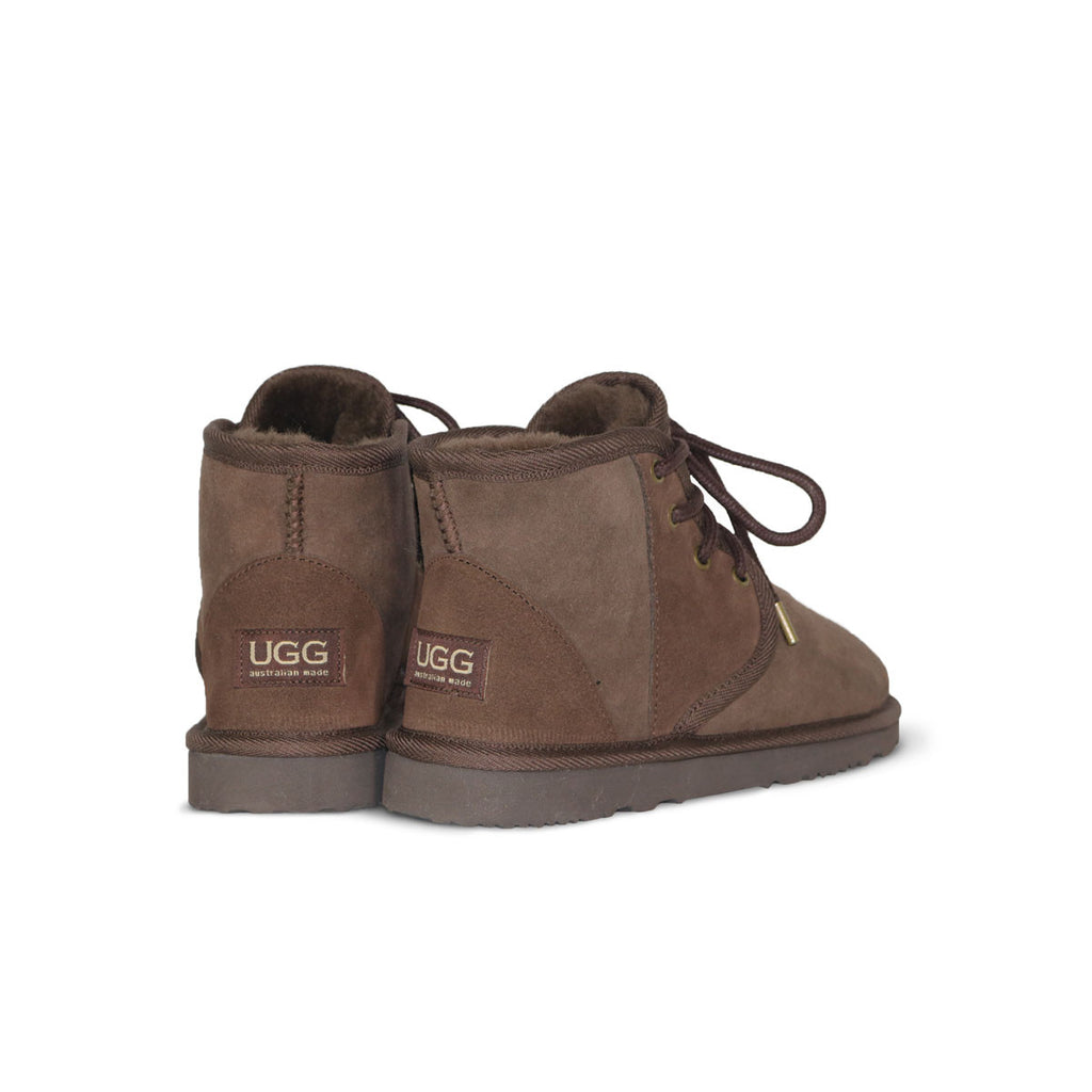 Dusty Mini Chocolate lace up sheepskin ugg boot sale by UGG Australian Made Since 1974 Back angle view pair