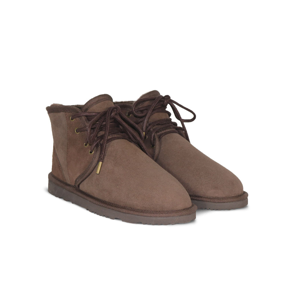 Dusty Mini Chocolate lace up sheepskin ugg boot sale by UGG Australian Made Since 1974 Front angle view pair