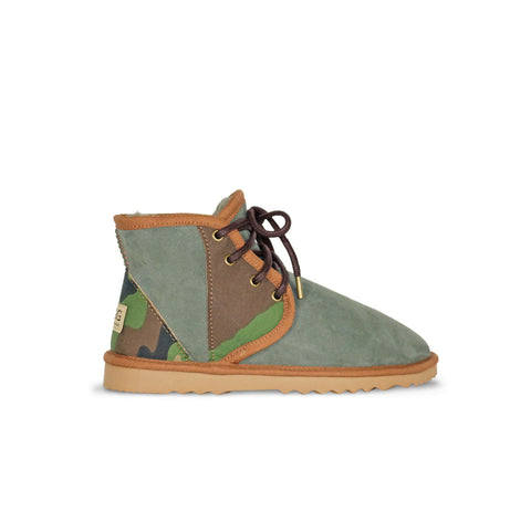 Dusty Storm Mini ugg boot with Khaki sheepskin and camo heel and panels for sale by UGG Australian Made Since 1974 Side view