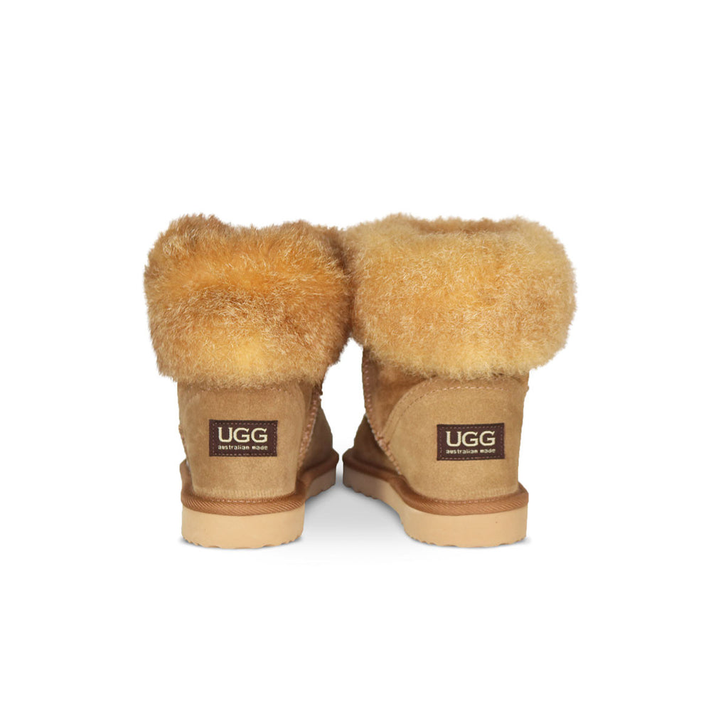 Foxy Mini Chestnut sheepskin ugg boot with New Zealand possum fur cuff online sale by UGG Australian Made Since 1974 Back view pair