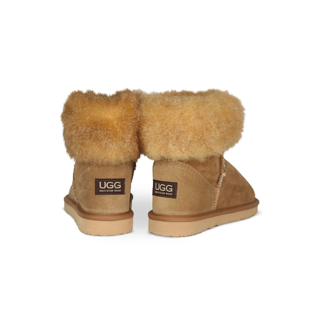 Foxy Mini Chestnut sheepskin ugg boot with New Zealand possum fur cuff online sale by UGG Australian Made Since 1974 Back angle view pair