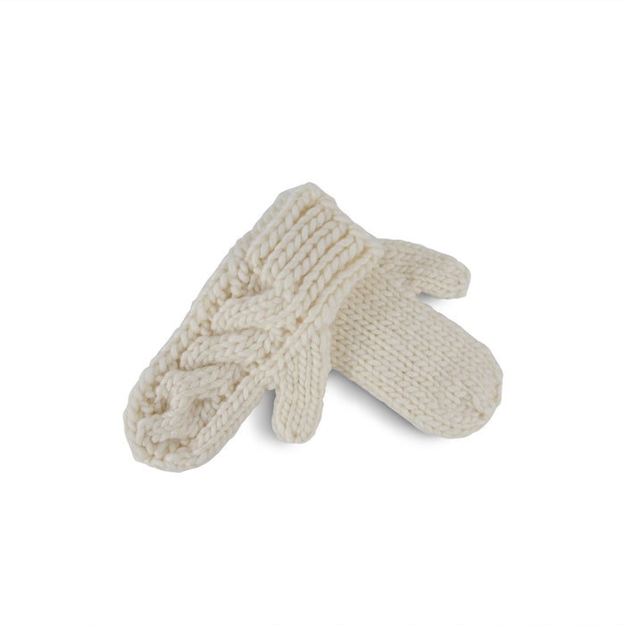 Ivory Cable Knit Wool Mittens