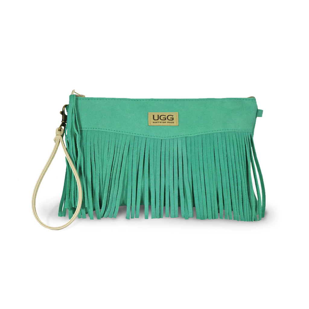 Tribal Clutch Aqua suede online sale by UGG Australian Made Since 1974 Front view