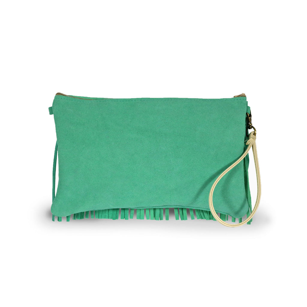 Tribal Clutch Aqua suede online sale by UGG Australian Made Since 1974 Back view