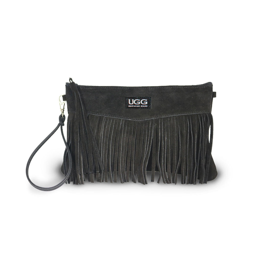 Tribal Clutch Black suede online sale by UGG Australian Made Since 1974 Front view