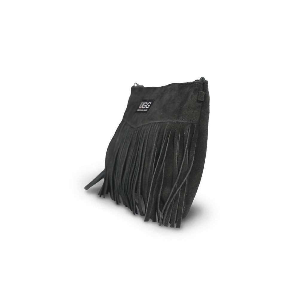 Tribal Clutch Black suede online sale by UGG Australian Made Since 1974 Front angle view