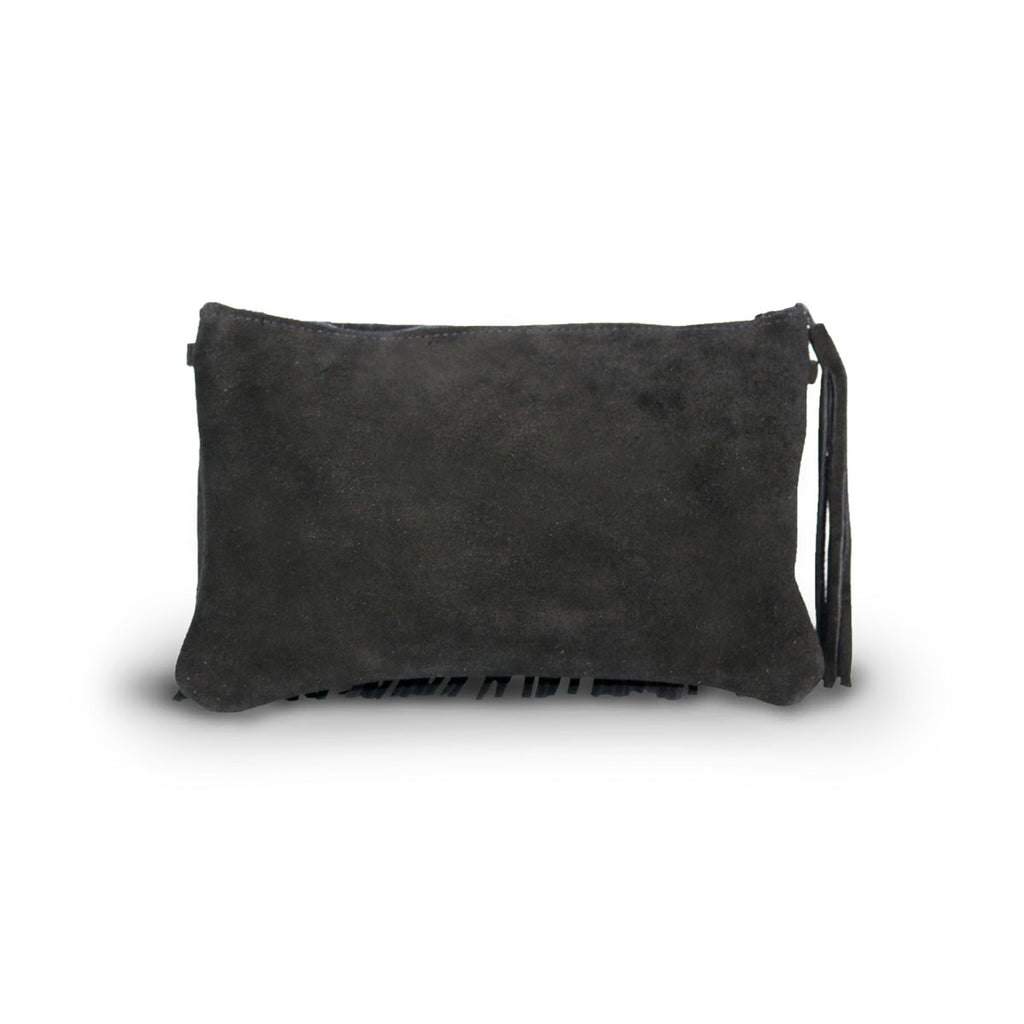 Tribal Clutch Black suede online sale by UGG Australian Made Since 1974 Back view