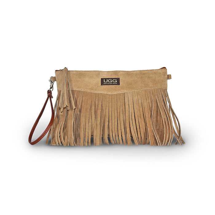 Tribal Clutch Chestnut suede online sale by UGG Australian Made Since 1974 Front view