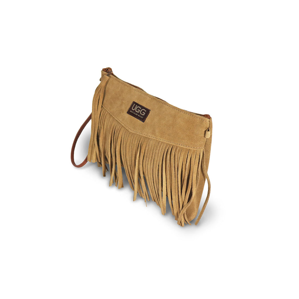Tribal Clutch Chestnut suede online sale by UGG Australian Made Since 1974 Front angle view