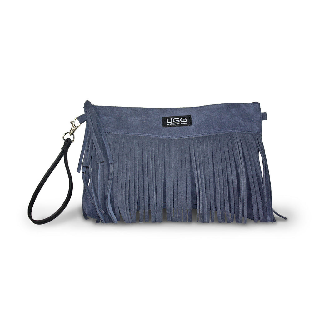 Tribal Clutch Navy blue suede online sale by UGG Australian Made Since 1974 Front view