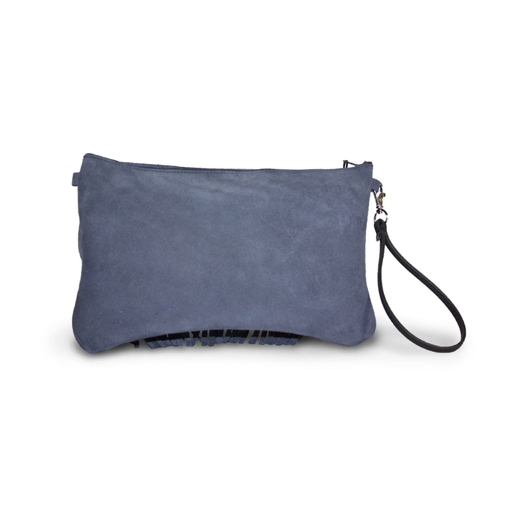 Tribal Clutch Navy blue suede online sale by UGG Australian Made Since 1974 Back view